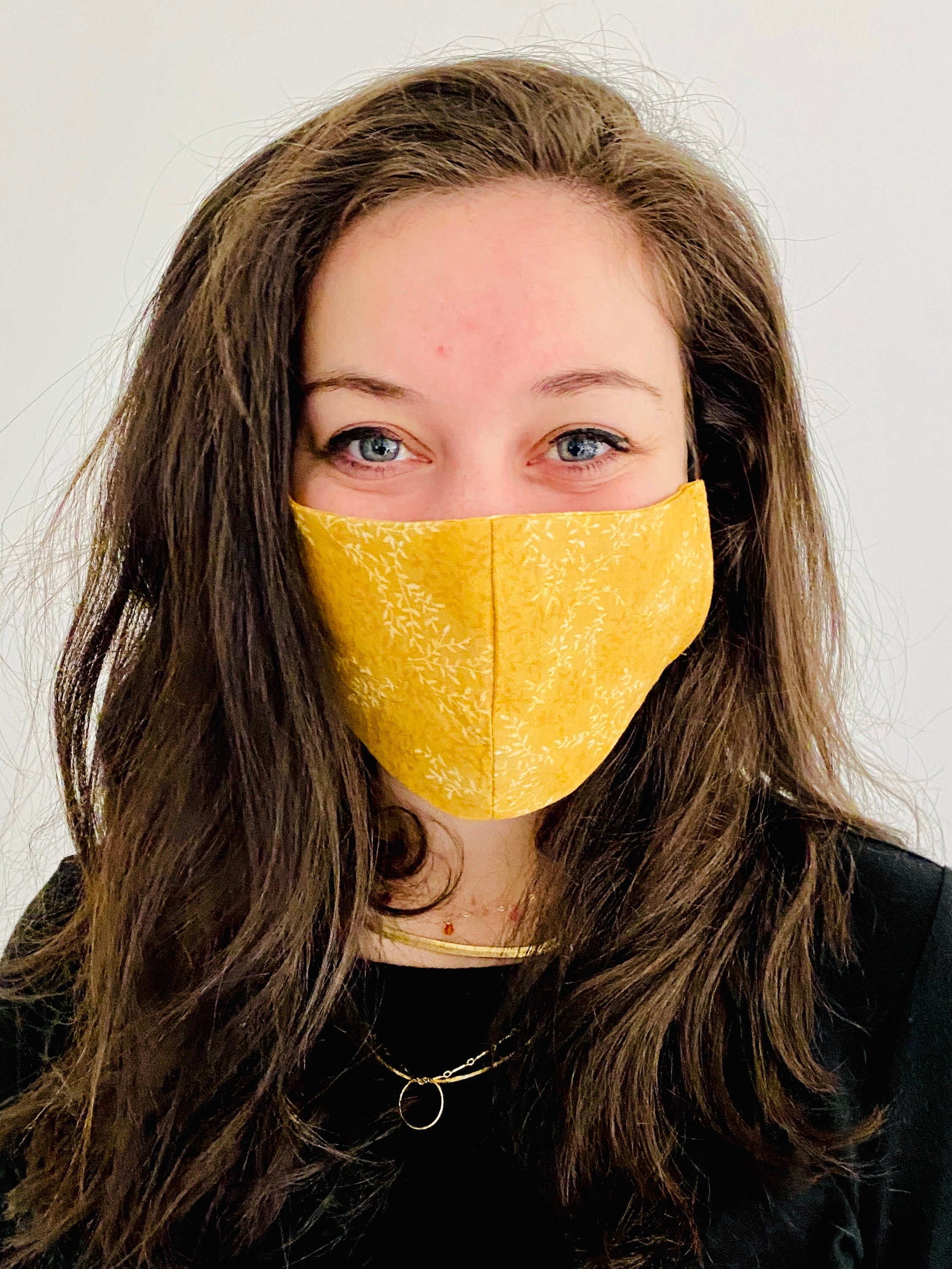 Floral Mustard Cotton Mask