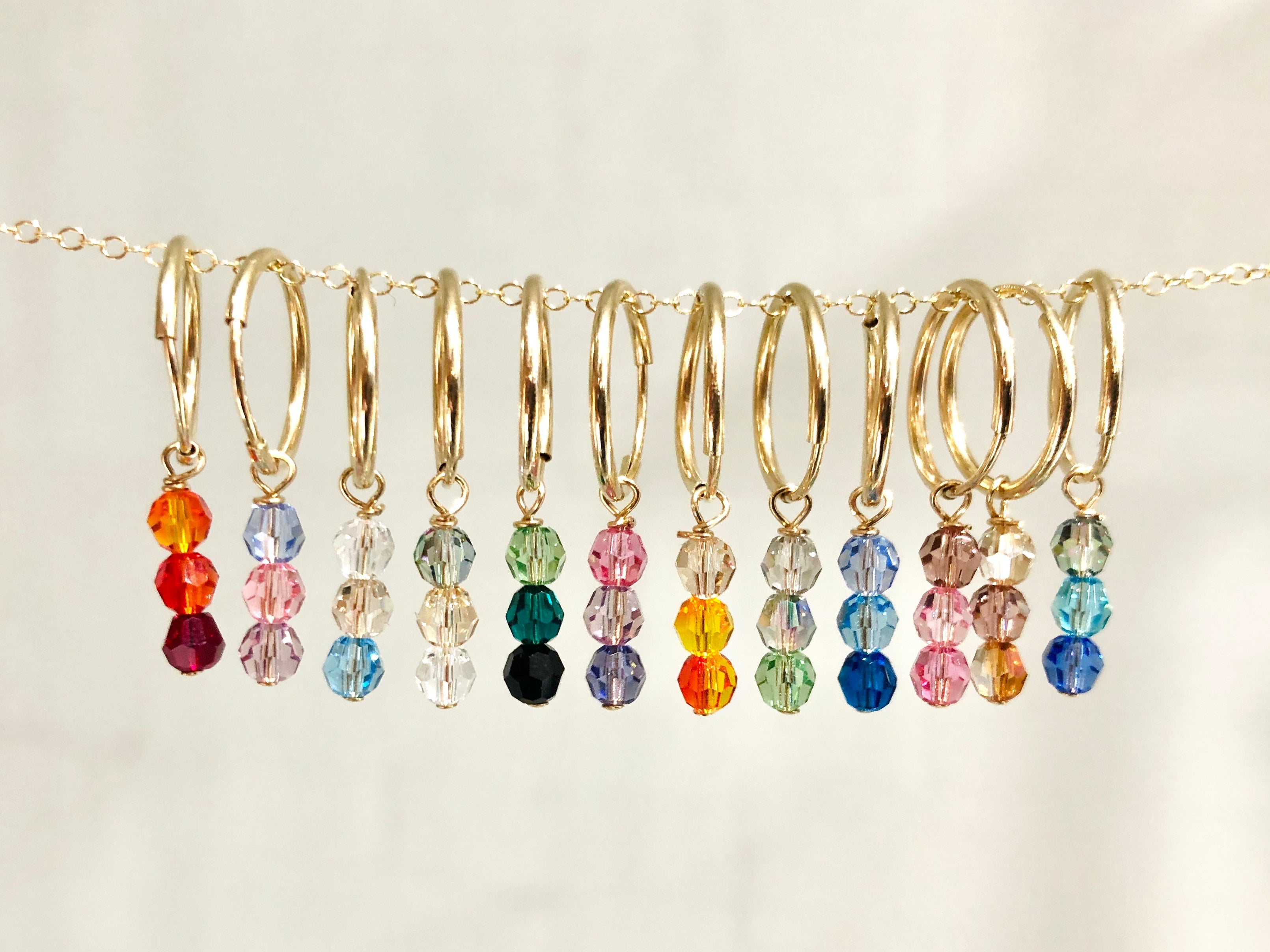 Crystal Charmed Hoops