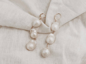 Trio Dangling Pearl Earrings (Large)