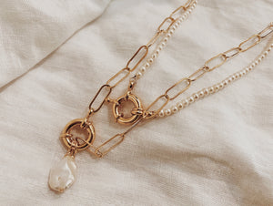Elongated Spring Ring Necklace