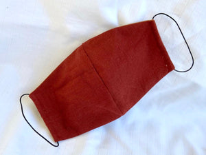 Rust Red & Terracotta Double Sided Linen Mask