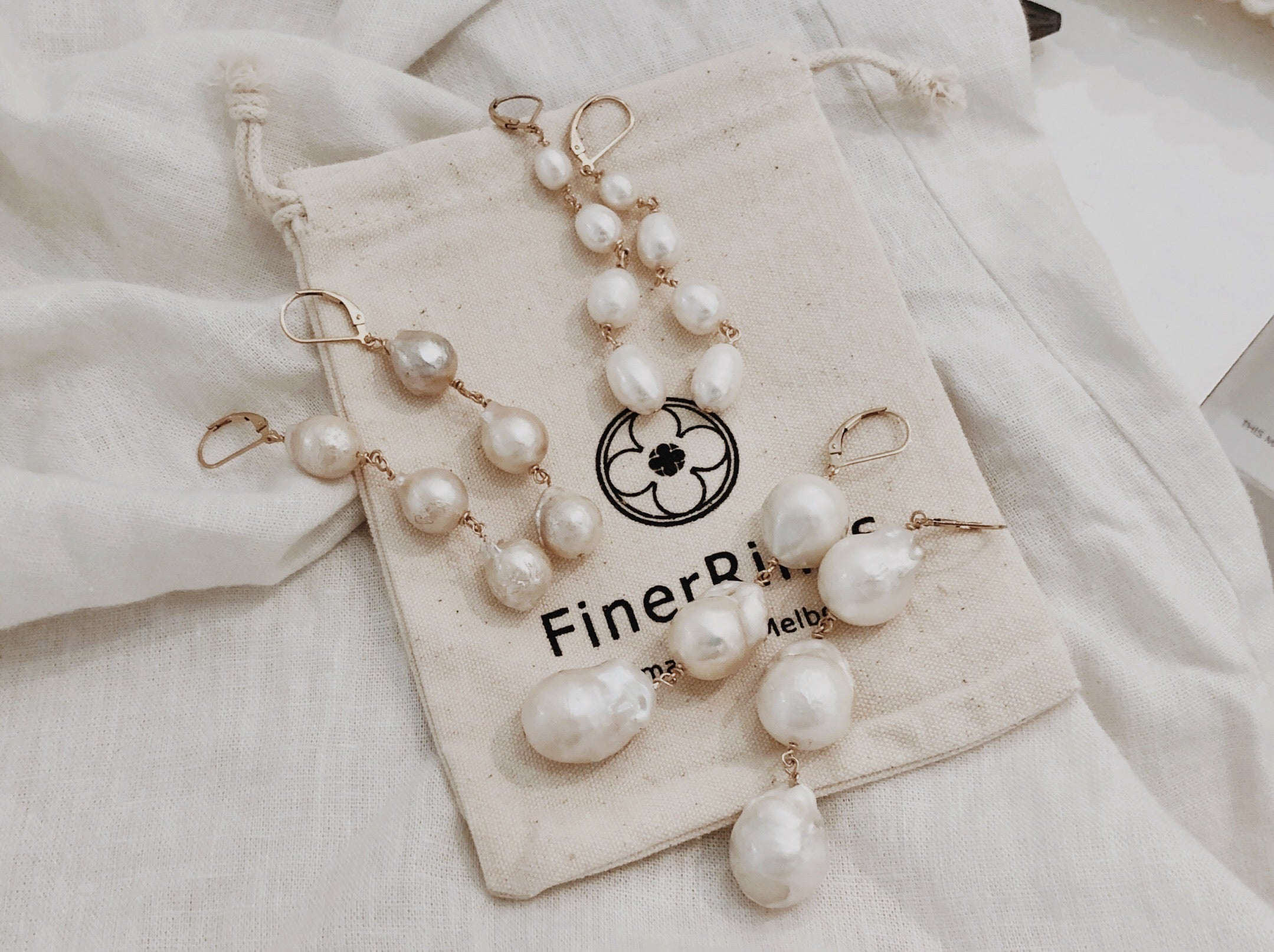 Trio Dangling Pearl Earrings (Small)