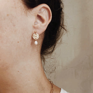 Hammered Coin and Pearl Studs