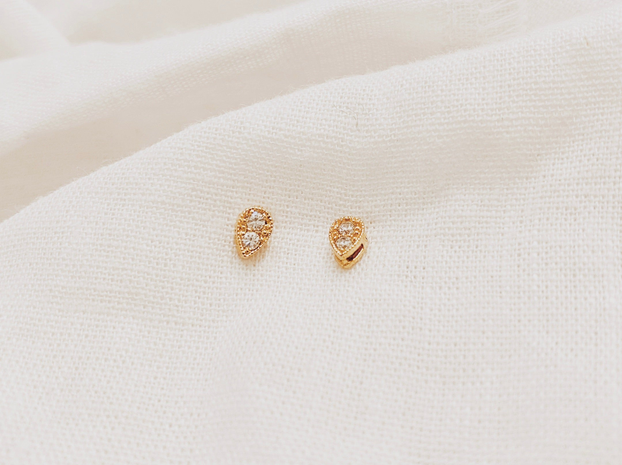 Gemstone Teardrop Studs