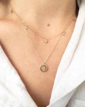 Circle Initial Stamped Necklace