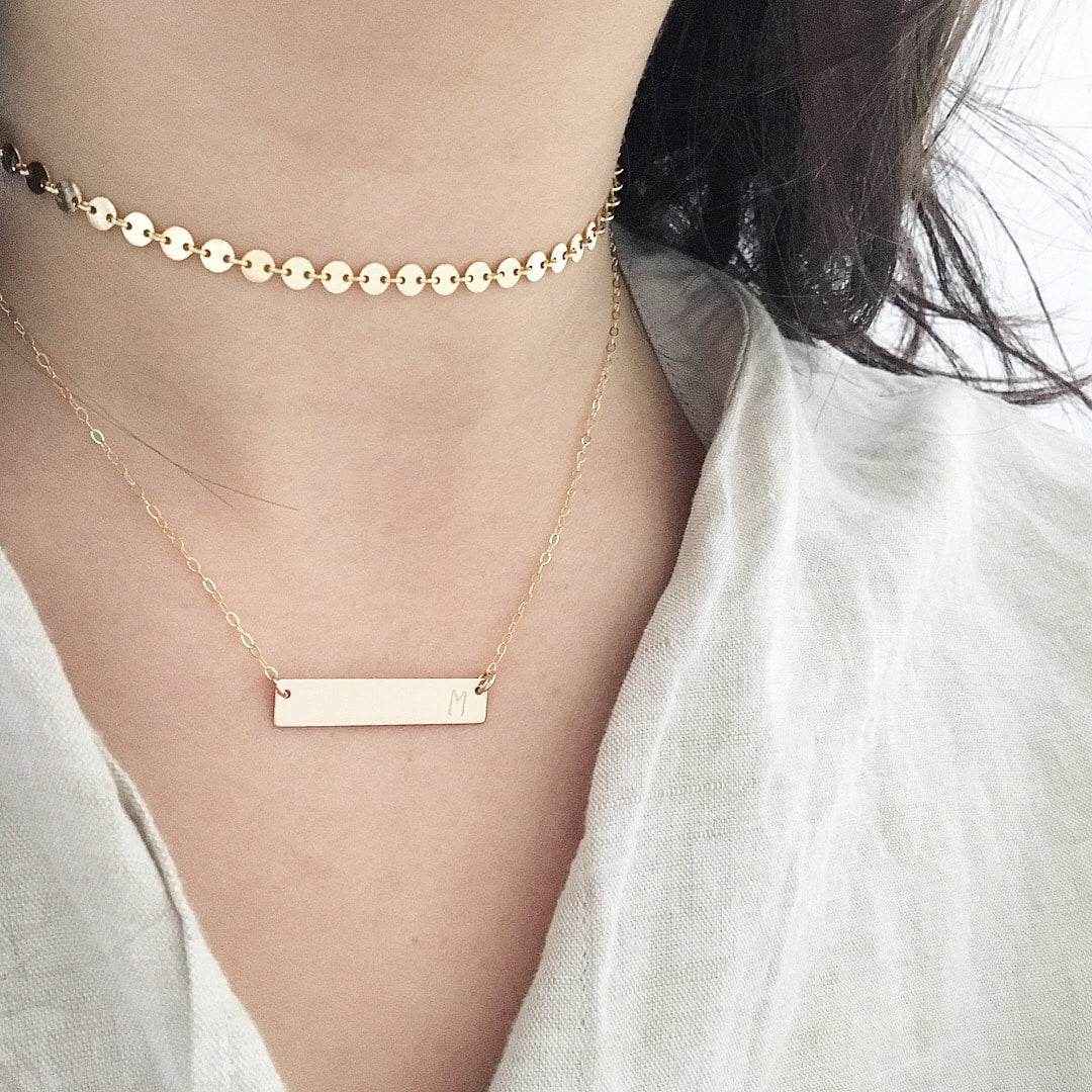 Rectangle Initial Stamped Necklace