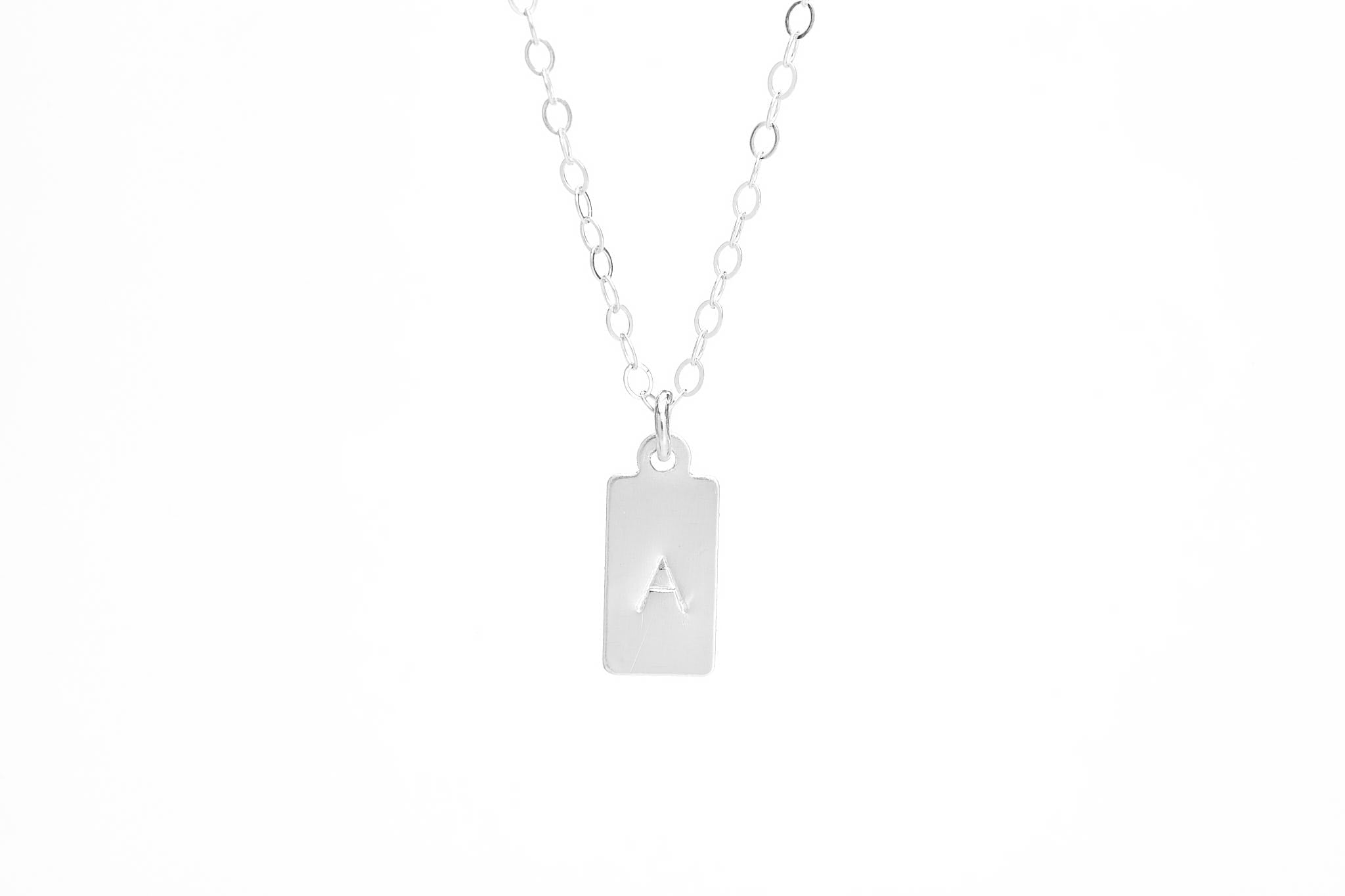 Tiny Square Initial Stamped Necklace