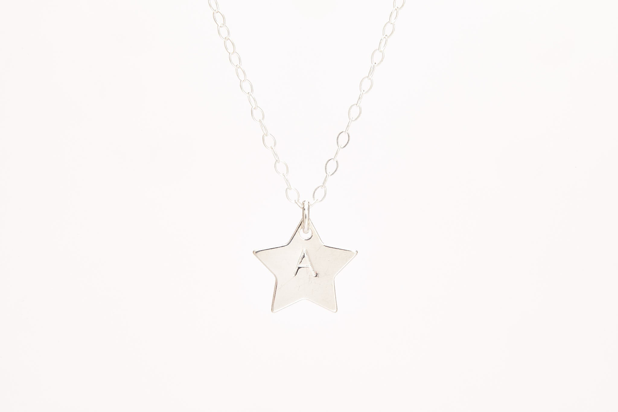 Silver Star Initial Stamped Necklace