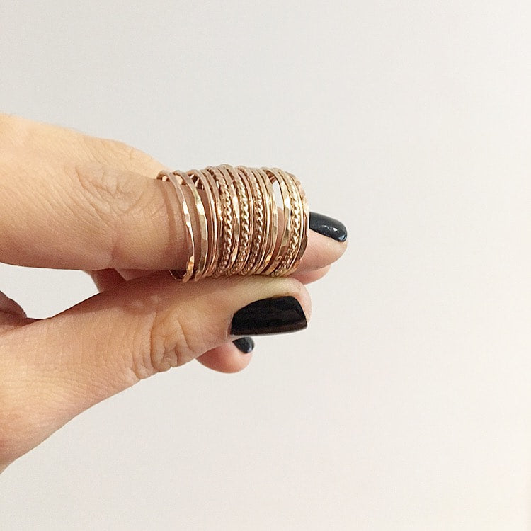 Silver or Gold Twisted Stack Ring