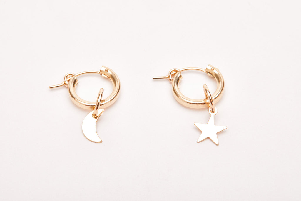 Silver or Gold Moon & Star Hoops