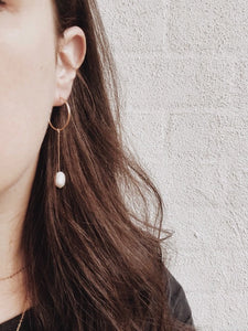 Medium Sized Hanging Pearl Earrings