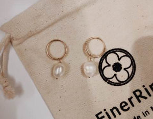 tiny hoops with pearls