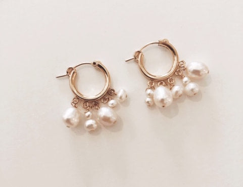 The Wedding Pearl Hoops