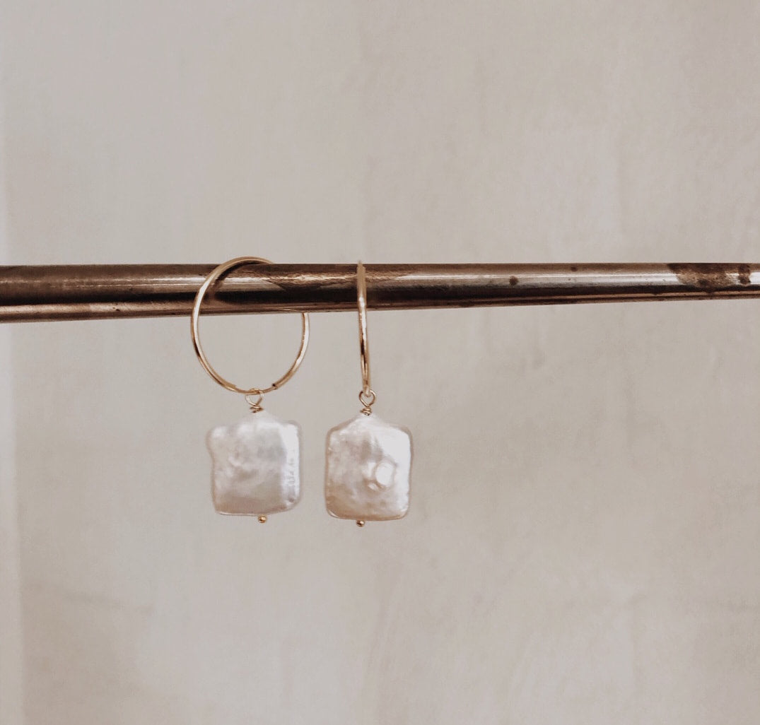 Dangling Square Pearl Hoops