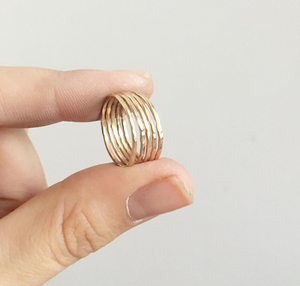 14k Gold Filled hammered stacking ring