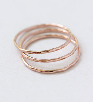Rose Gold hammered stacking ring