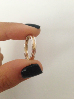 2 x Sterling Silver 1 x 14k Gold ring set