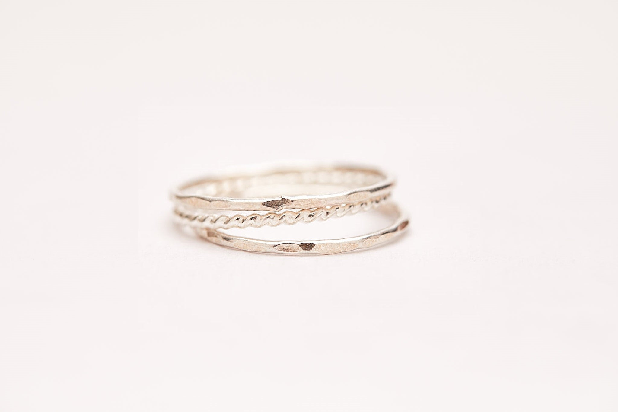 Sterling Silver Twisted and Hammered ring set
