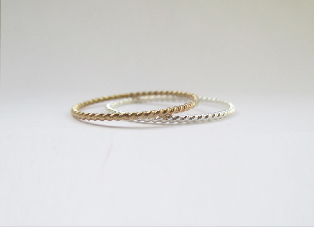 Gold & Silver Twisted ring set