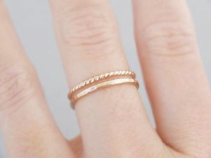 Gold hammered and Twisted ring set