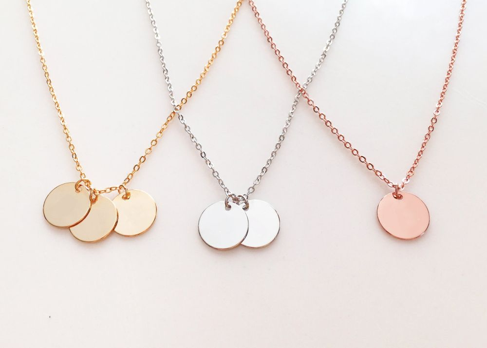 The Disc necklace in Rose or Yellow Gold