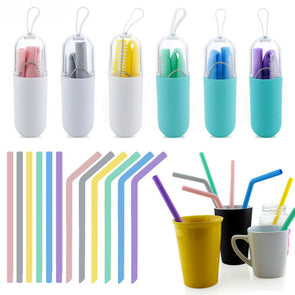 Portable Foldable Silicone Drinking Travel Straws with Cleaning Brush