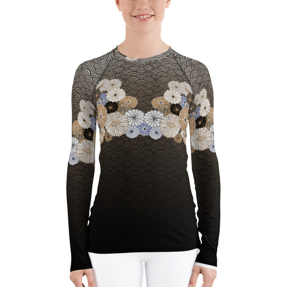 Kiku Floral and Wave Rash Guard