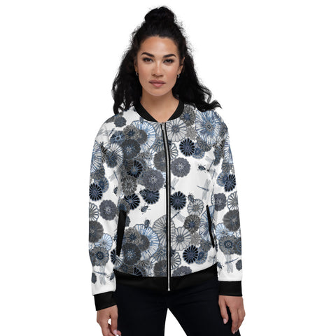 Wildflower on White Unisex Bomber Jacket