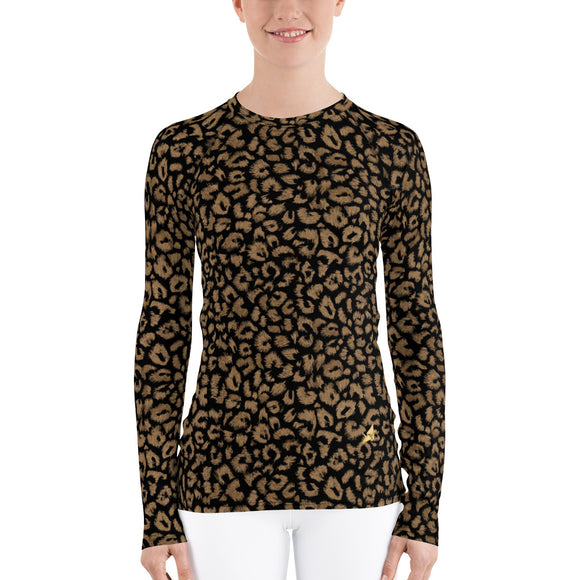 Gold Leopard Women's Fit Rash Guard -Black