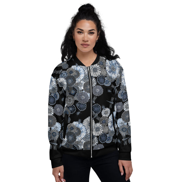 Wildflower on Black Unisex Bomber Jacket