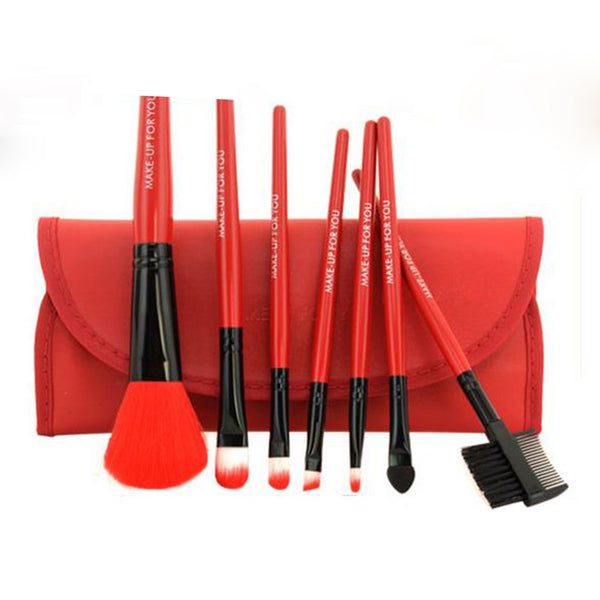 7 pcs Makeup Brushes Set of Soft Synthetic Hair With Leather Case