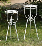 WHITE PLANT STAND  2PC SET