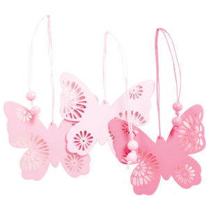 3.5 WOOD BUTTERFLY  PINK EACH