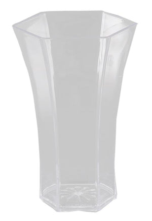 10  POLY ROSE VASE CLEAR  !!! SOLD BY EACH