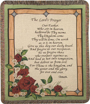THE LORD'S PRAYER STAINED GLASS THROW