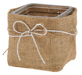 4 SQUARE BURLAP WRAP GLASS CUBE