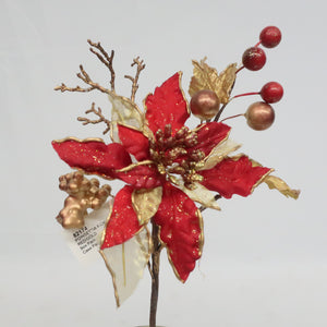 MIXED POINSETTIA PICK RED/GOLD