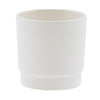 4 ROUND GLAZED PLANTER WHITE EACH