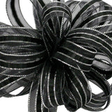 3 ILISSA RIBBON BLACK SILVER 25YD EACH