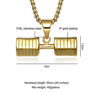 GO FIT Dumbbell Pendant Necklaces