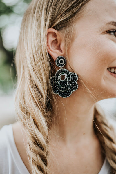 Beaded Babe Earrings: Black