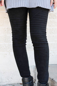 Dark Side Suede Moto Leggings