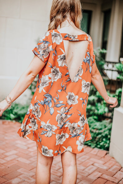 Pumpkin Spice Floral Dress
