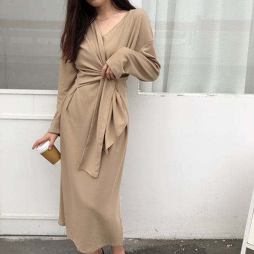 Fashion V Neck Belted Pure Colour Casual Dresses