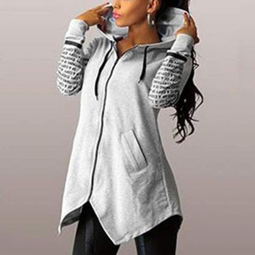 Fashion Hoodie Slim Irregular Hem Hooded
