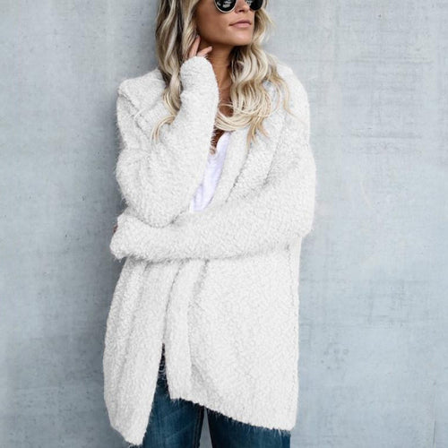 Hooded Long Sleeve Plain Cardigan