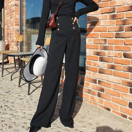 Chic high-rise double-breasted wide-leg pants