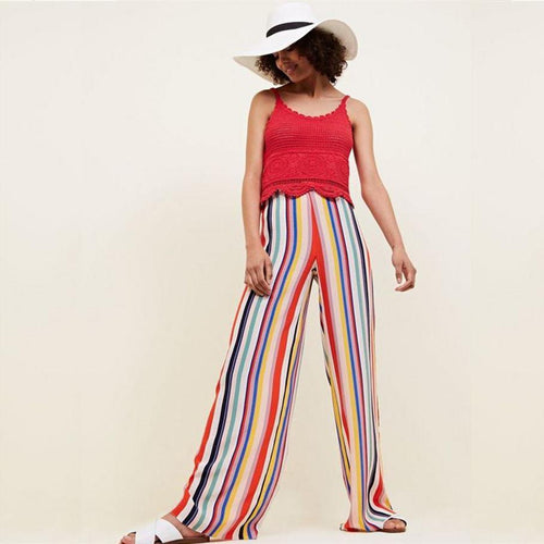 Colorful Striped Wide Leg Trousers