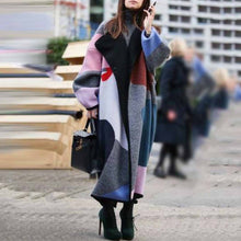 Load image into Gallery viewer, Fashion Color Matching Lapel Wool Long Coat