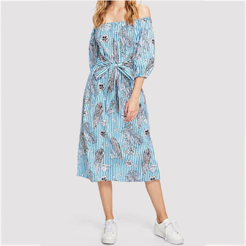 Sexy Off Shoulder Floral Printed Belt Casual Dress